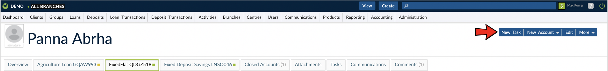 Create Task from Clients' profile