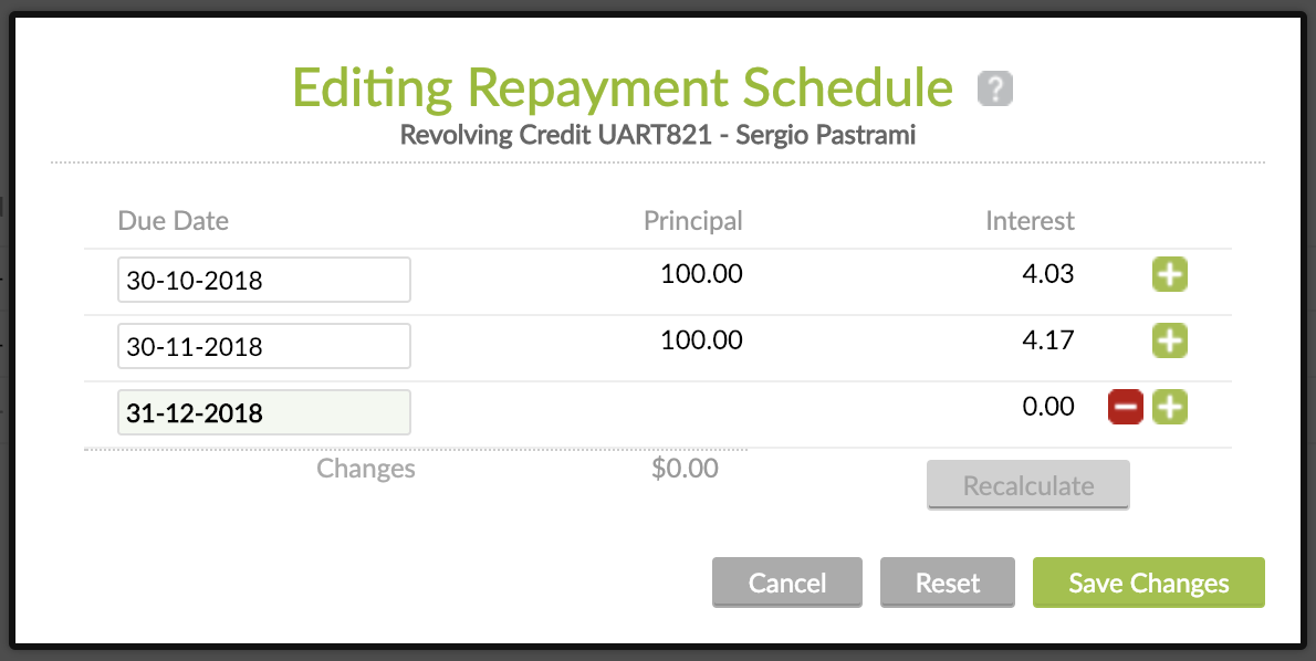 Editing Repayment Schedule on Revolving Credit - custom instalment manually added