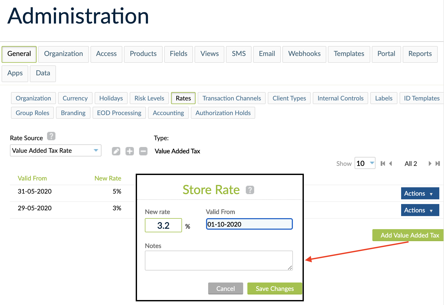 Store Rate screen, where New rate and Valid from fields are mandatory.