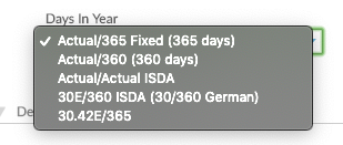 Days in Year drop down with options