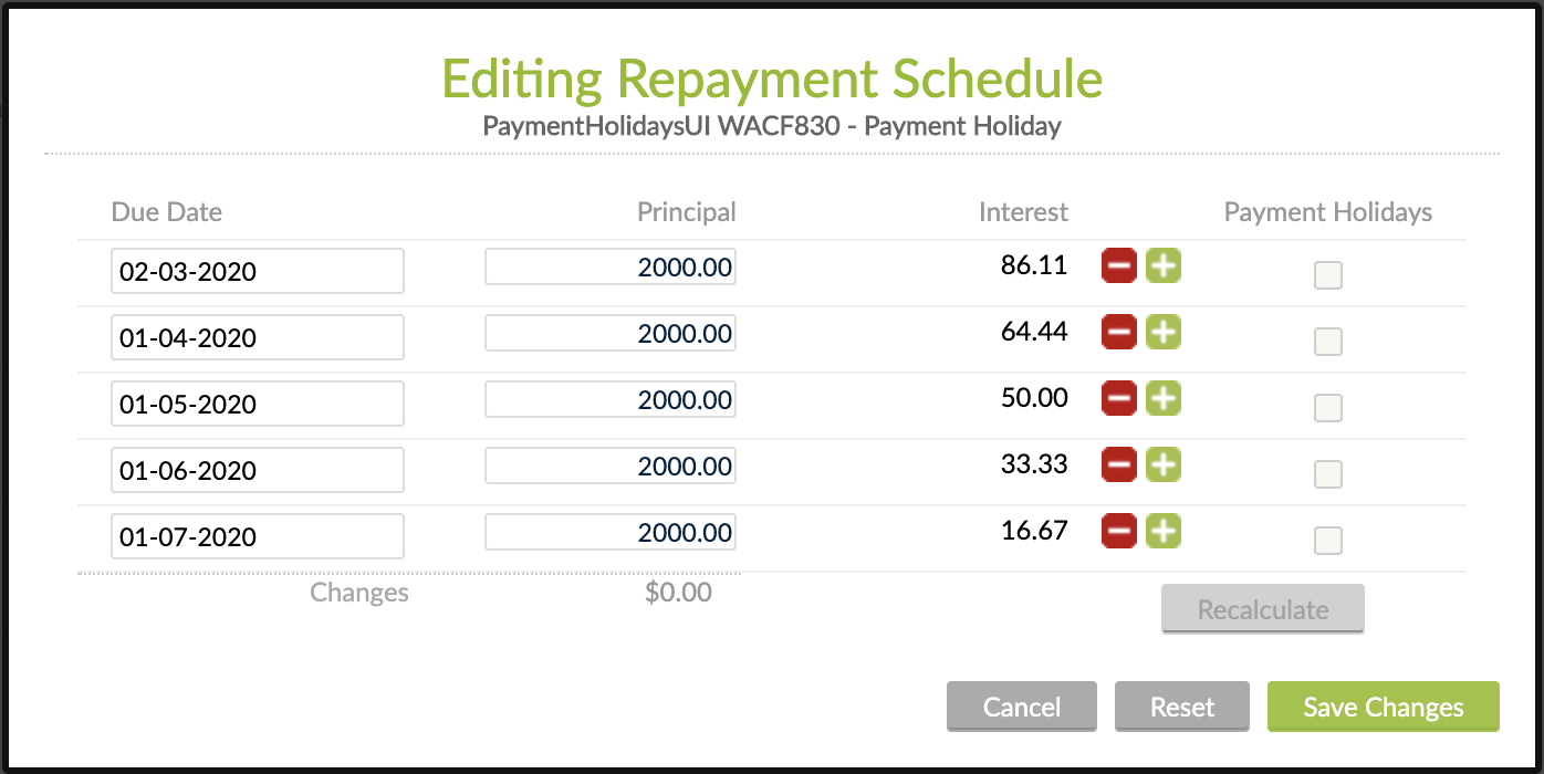 Configure Payment Holiday via Edit Schedule at Loan Account Level
