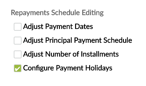 Configure Payment Holiday checkbox via Repayment Scheduling at Loan Product creation