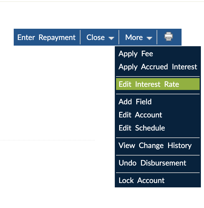Dynamic Term Loan, Edit Interest Rate option available via the Mambu User Interface