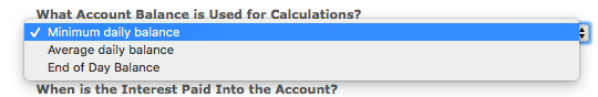 What Account Balance is Used for Calculations? dropdown with options