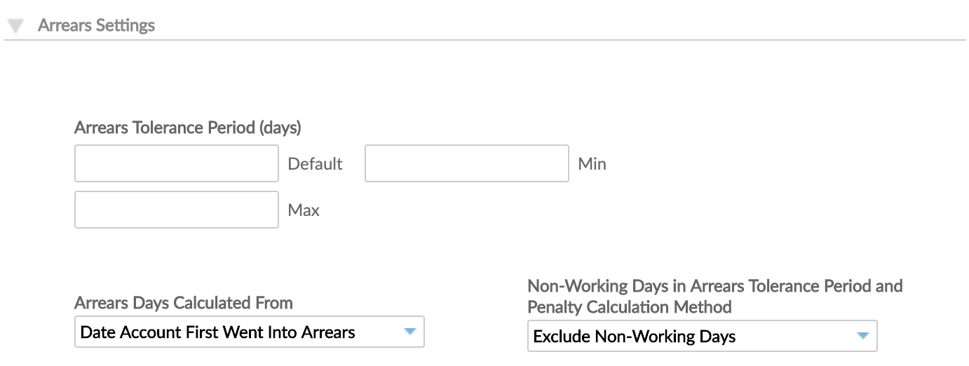 Arrears Settings at Product Level with Arrears Tolerance Period (days), Arrears Days Calculated From and Non-Working Days in Arrears Tolerance Period and Penalty Calculation Method options