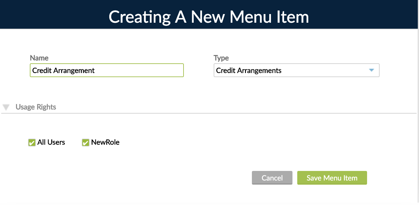 New Menu Item from menu Gear button