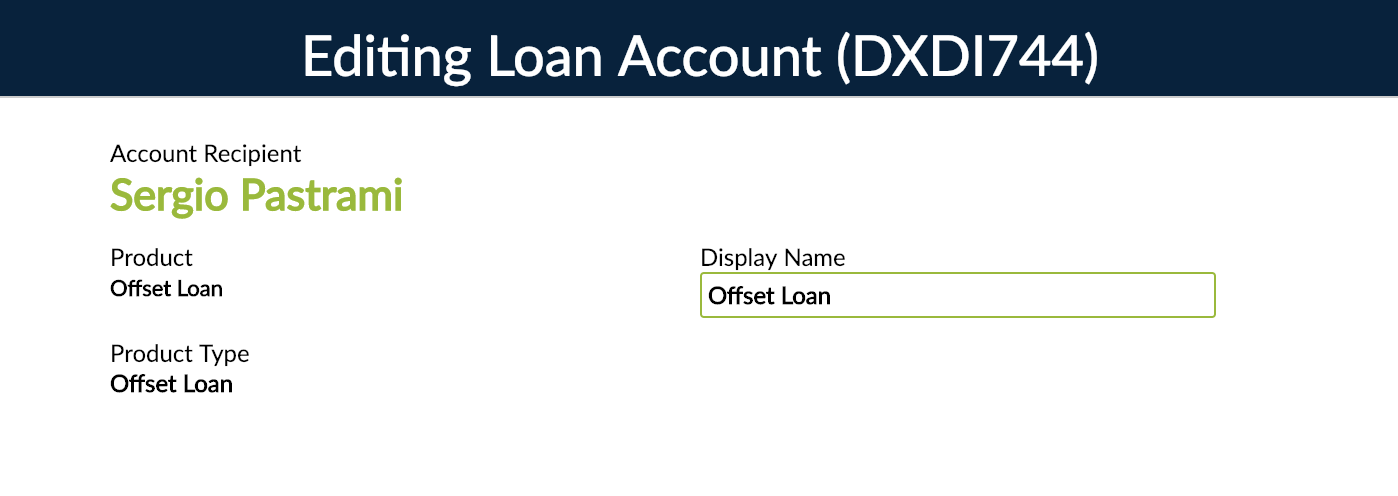 Change Display Name from Editing Loan Account.