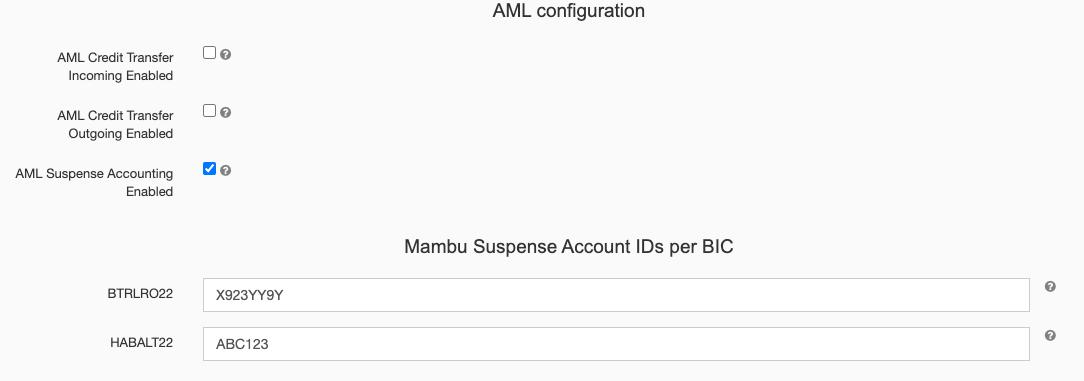 Manage AML Suspense Accounts