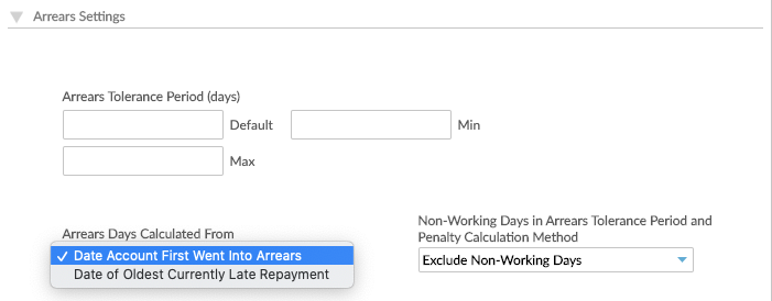 Arrears Days Calculated From option in Loan Product setup