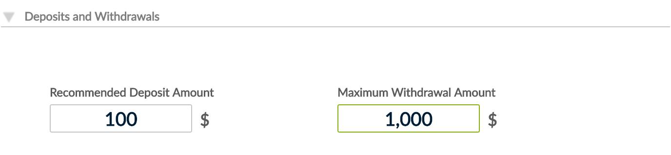 Maximum withdrawal amount