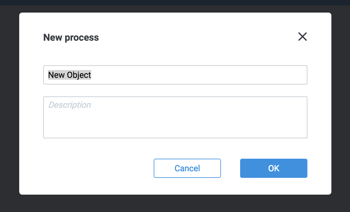 New process screen with fields for process name and description