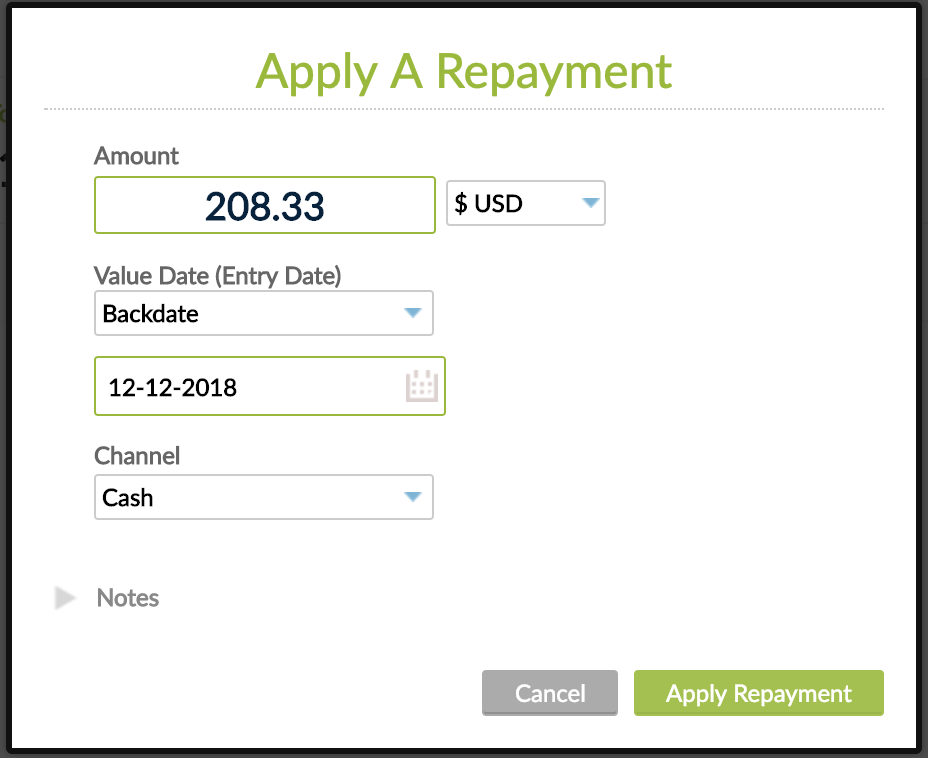Apply backdated repayment screen