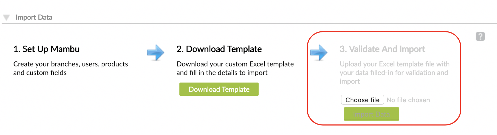 Validate And Import set with Import Data button