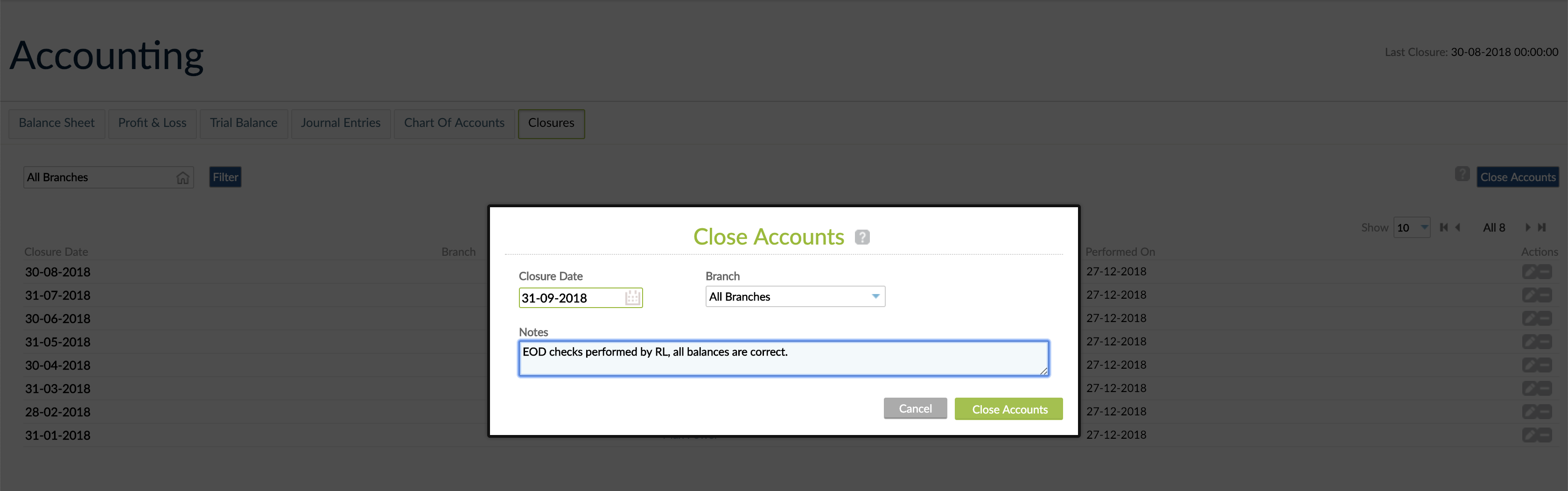 Close Accounts screen with Closure Date, Branch and Notes fields.