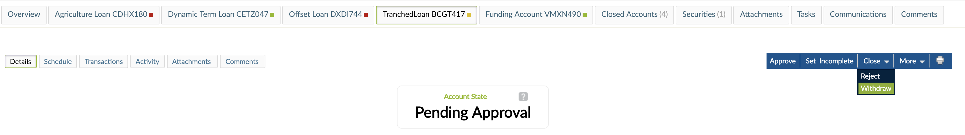 Withdrawing a Loan Account form Close drop-down menu