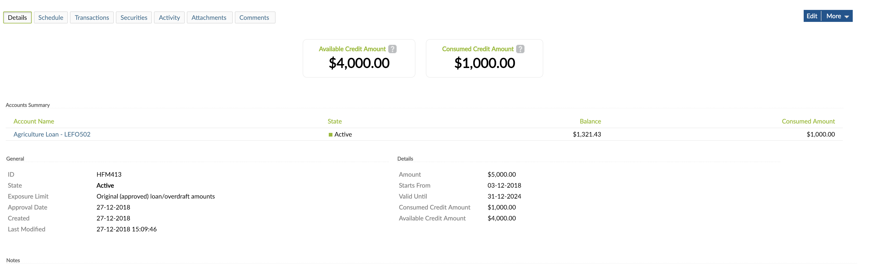 Credit Arrangement view from Details tab