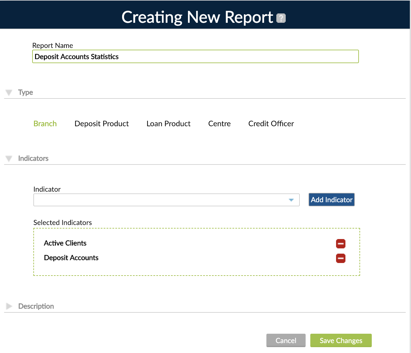 Creating New Report screen with Report Name, Type, Indicators and Description.