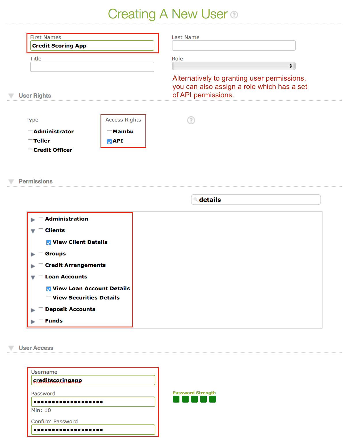 Creating a new user screen with important areas for authentication highlighted in red
