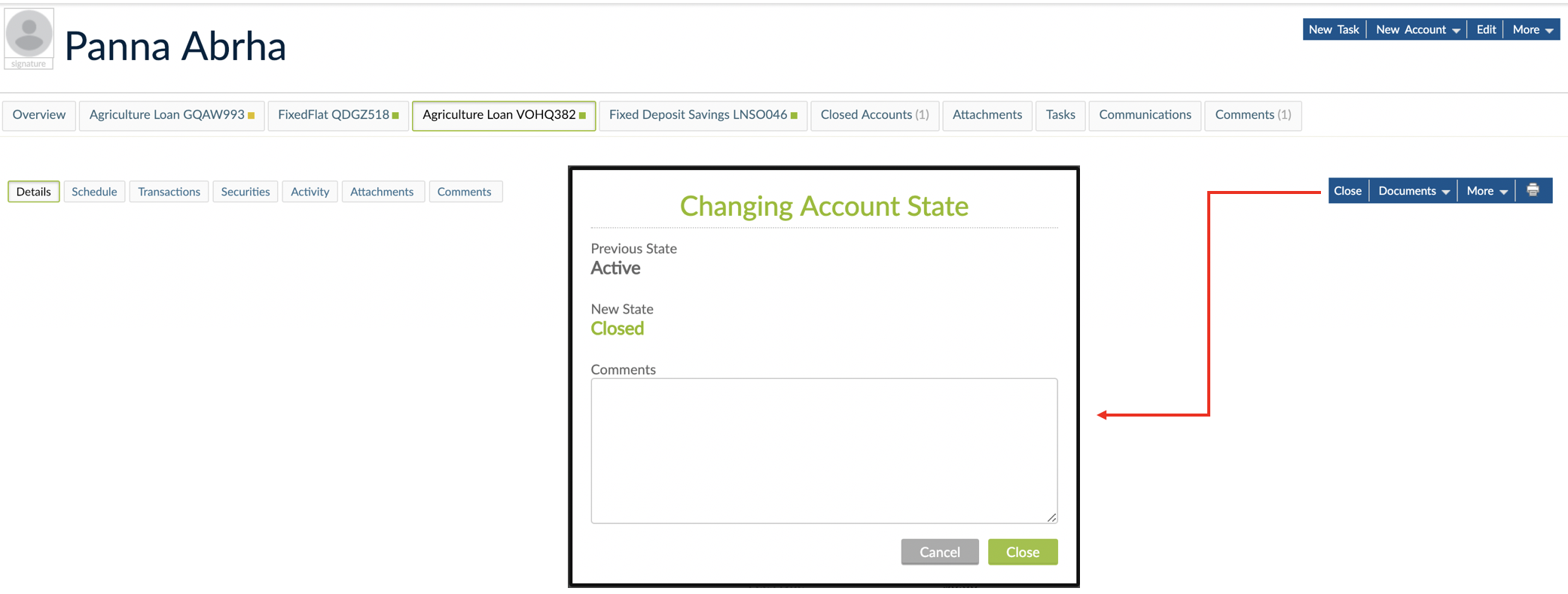 Closing Account State when account has all obligations met