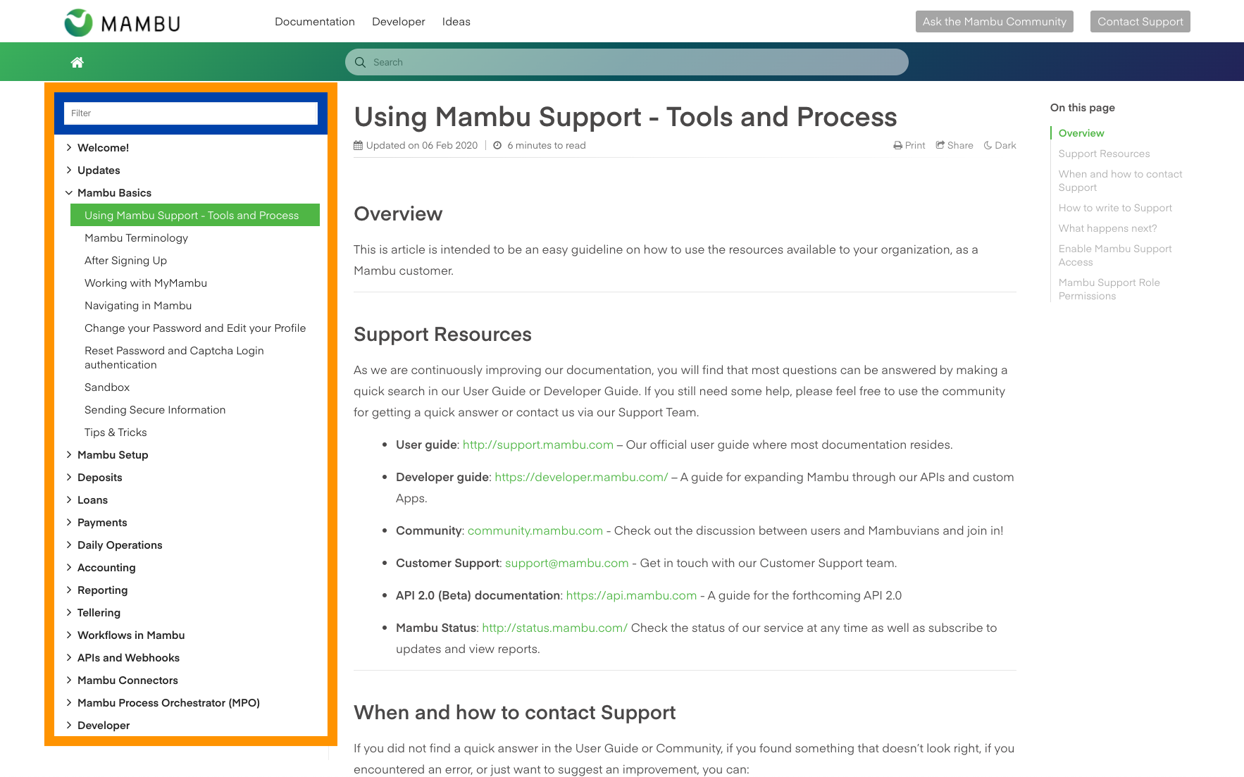 support documentation for mambu user interface