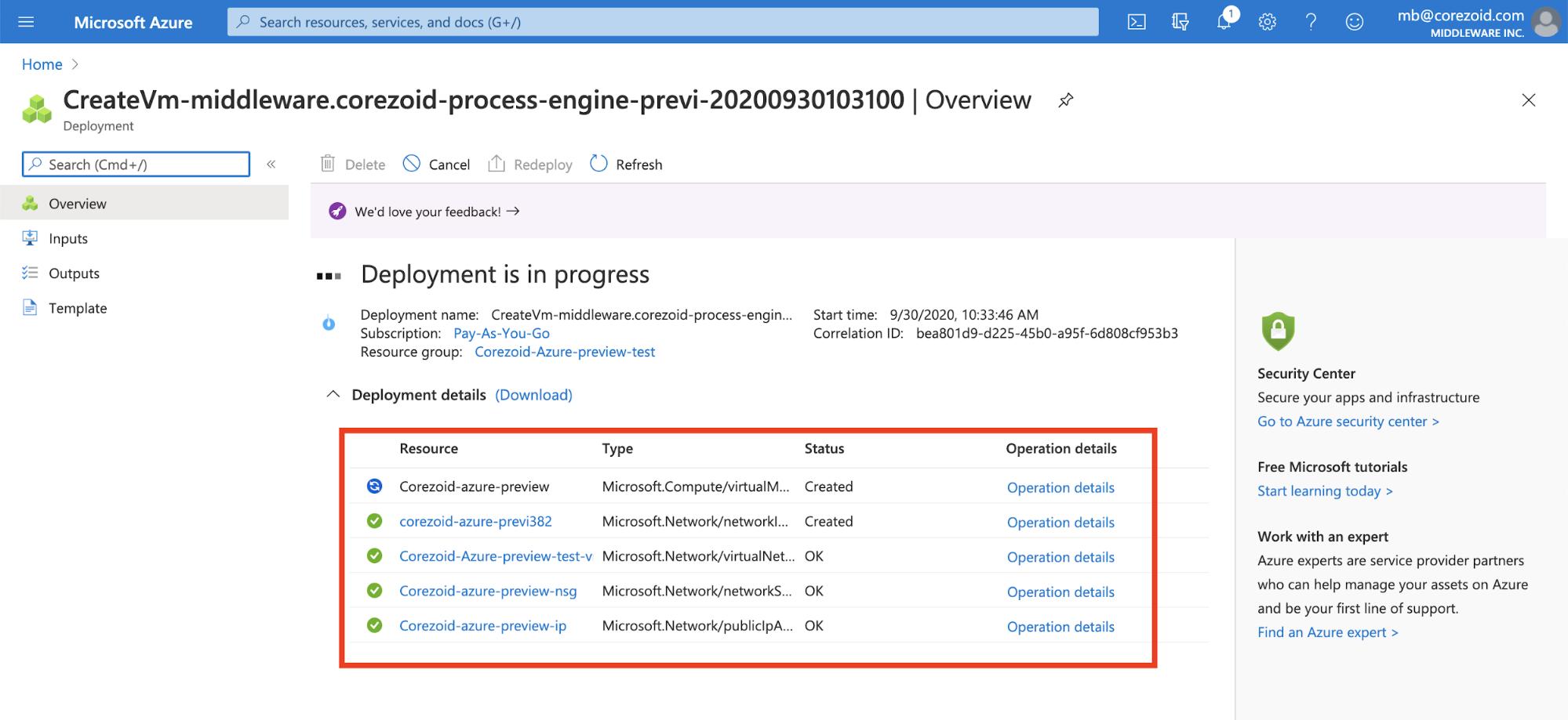 Azure-deployment-status