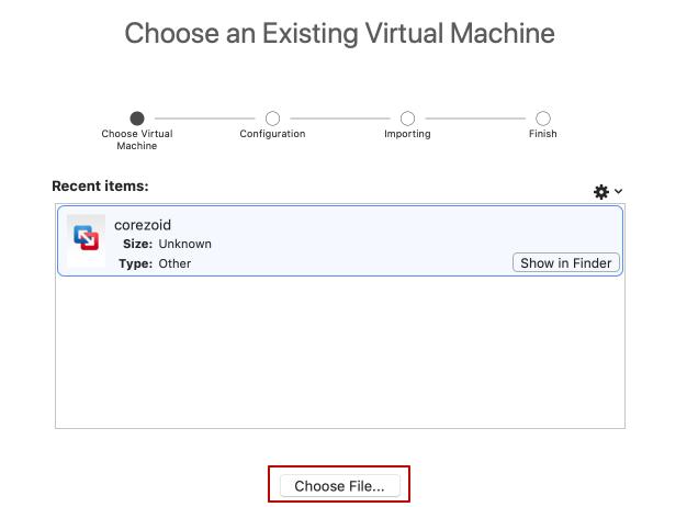 Choose an OVF file