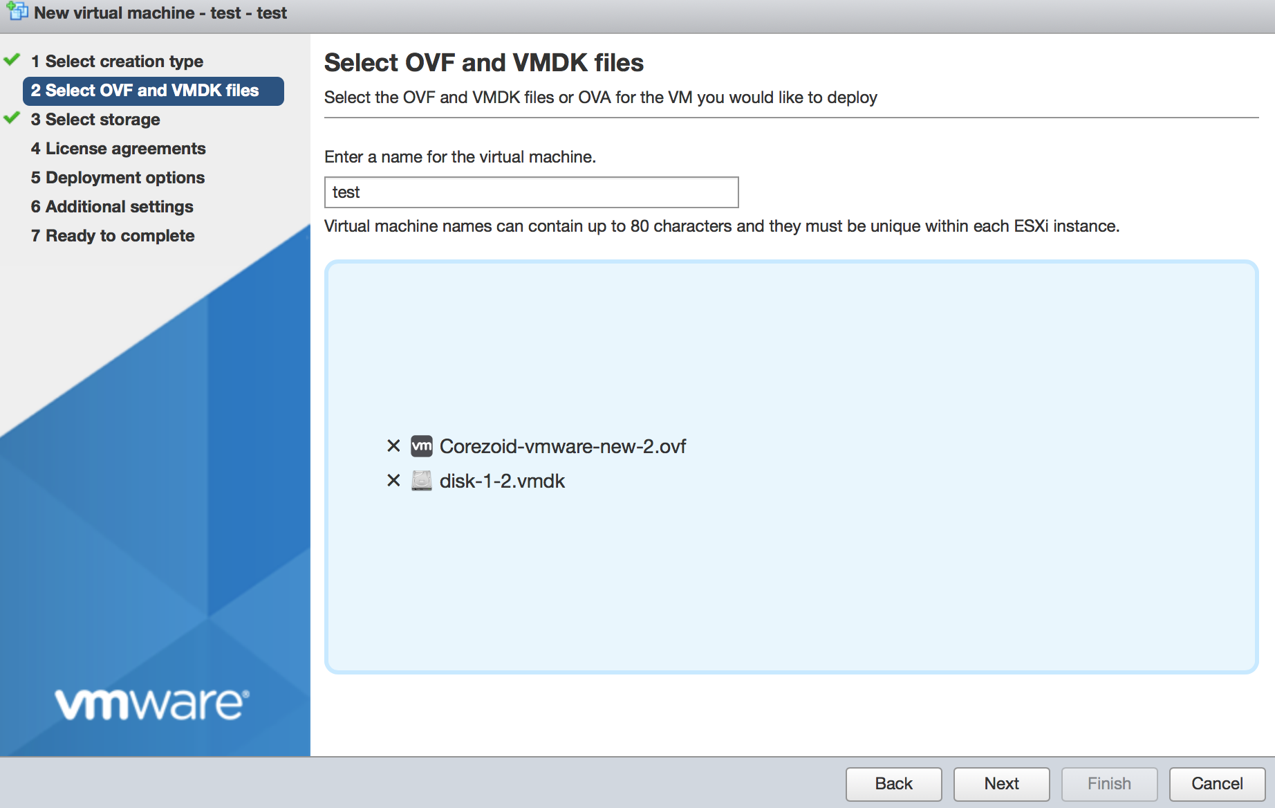 Select OVF and VMDK files
