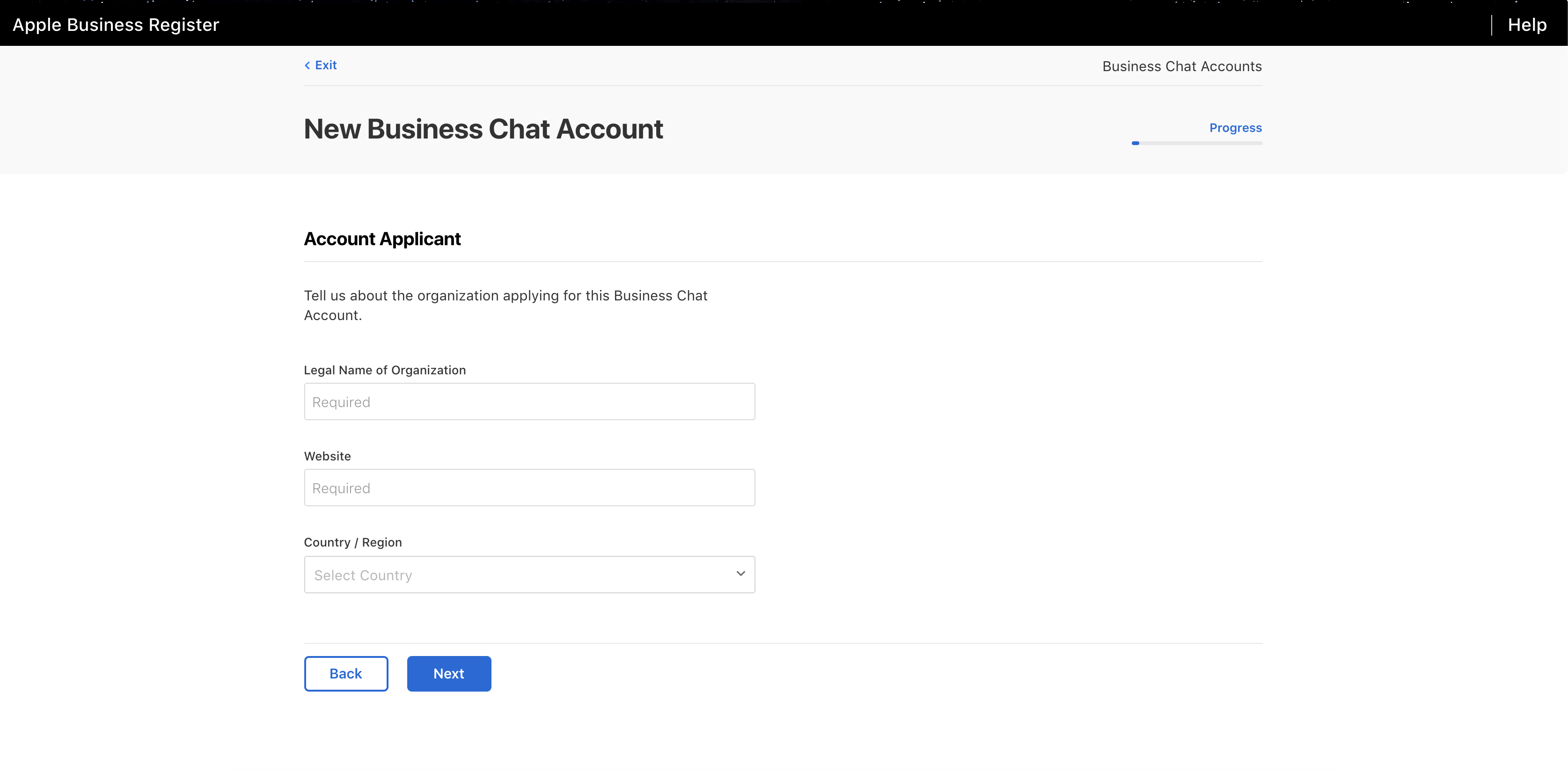 Business Chat account information