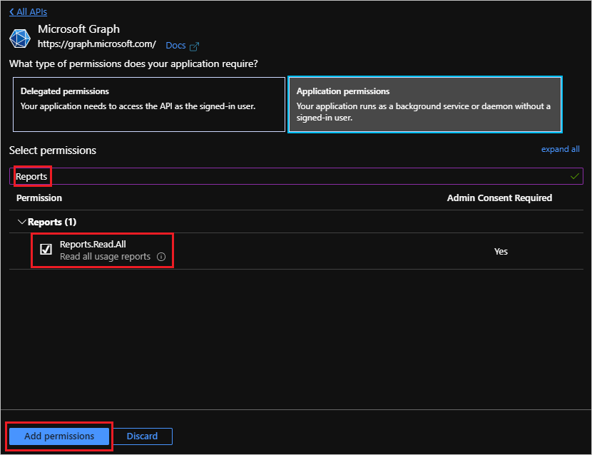 Microsoft Graph Reports API